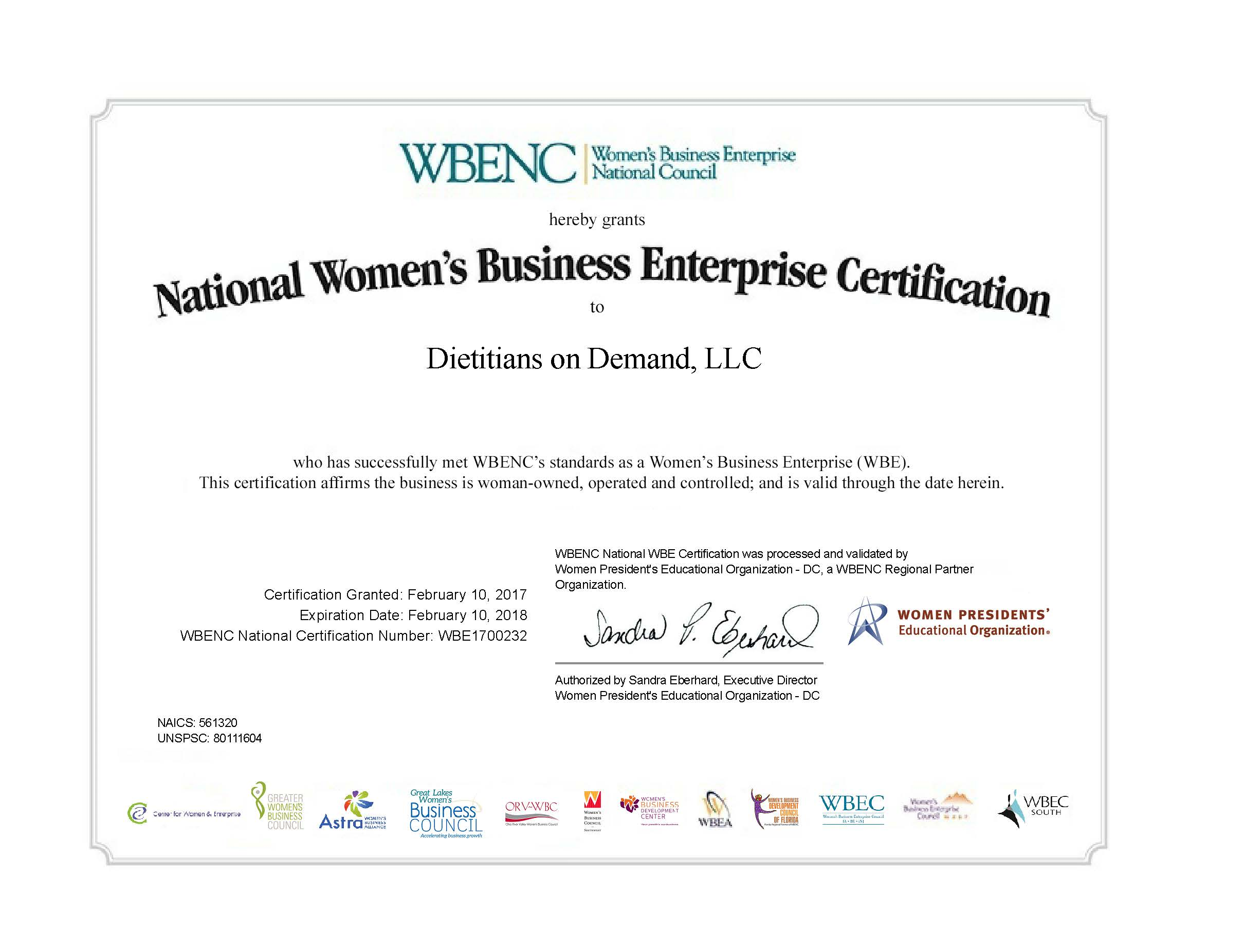 WBE Certificate